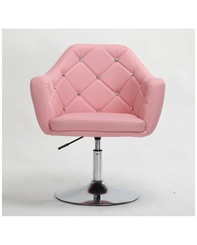 BLINK - Różowe krzesło obrotowe (chromowany dysk)