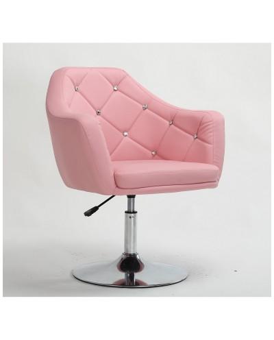 BLINK - Różowe krzesło obrotowe dla dziewczynki (chromowany dysk)
