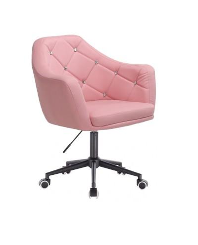 BLINK - Różowy fotel biurowy obrotowy na kółkach (czarne)