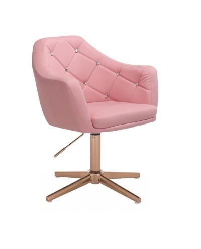 BLINK - Różowy fotel do salonu glamour (złoty krzyżak)