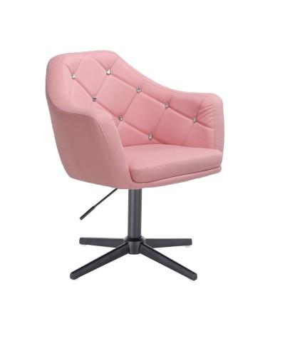 BLINK - Różowy fotel glamour do salonu (krzyżak czarny)
