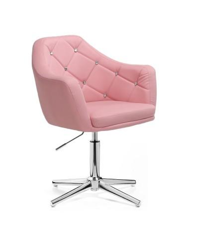 BLINK - Różowy fotel glamour (chromowany krzyżak)