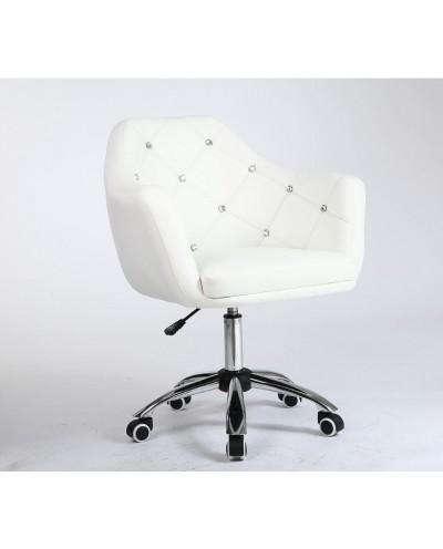 BLINK - Krzesło obrotowe na kółkach fotel biały (chrom)