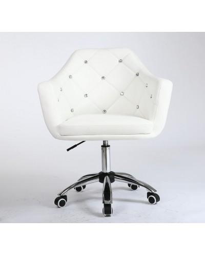 BLINK - Fotel obrotowy na kółkach biały (chrom)