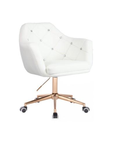 BLINK - Fotel obrotowy biały na kółkach (złoty)