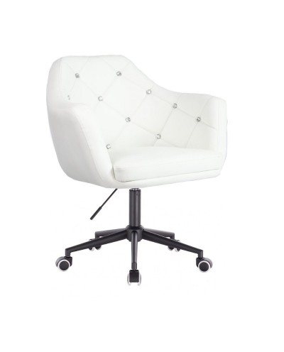 BLINK - Fotel biurowy biały na kółkach (czarne)