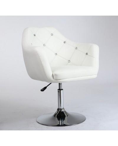 BLINK - Krzesło białe ozdobione kryształkami (chromowany dysk)