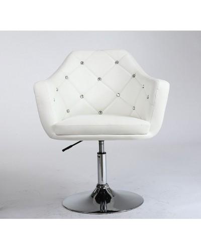 BLINK - Krzesło obrotowe biurowe białe (chromowany dysk)