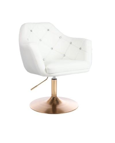 BLINK - Biały fotel obrotowy do salonu (złoty dysk)