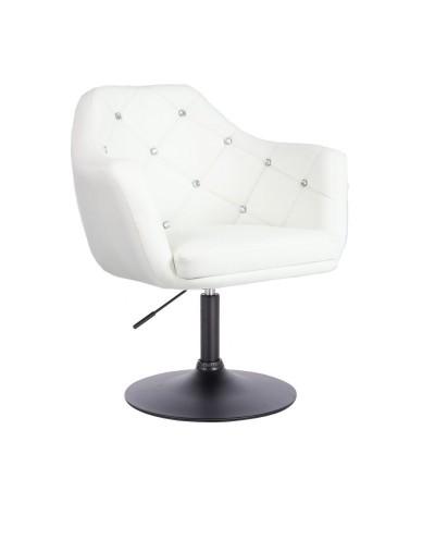 BLINK - Fotel obrotowy biały - nowoczesny salon (czarny dysk)
