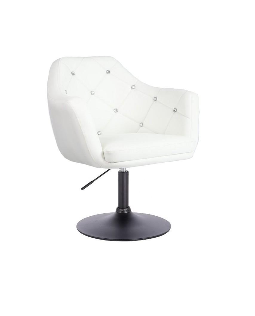 BLINK - Fotel obrotowy biały modny SALON (czarny dysk)