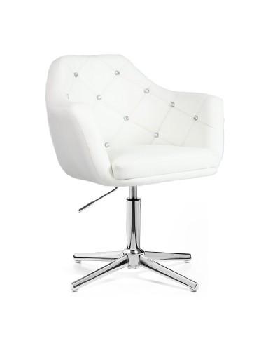 BLINK - Fotel obrotowy glamour biały (chromowany krzyżak)