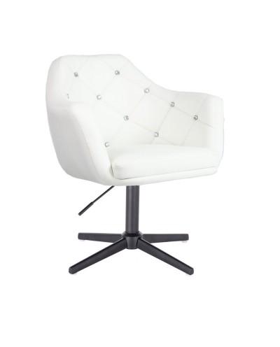 BLINK - Fotel do pokoju dziennego glamour biały (krzyżak czarny)