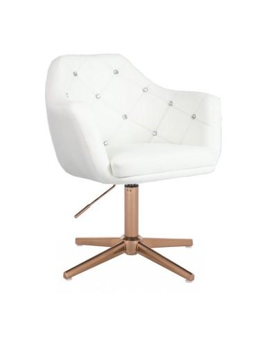 BLINK - Luksusowy biały fotel do salonu (złoty krzyżak)