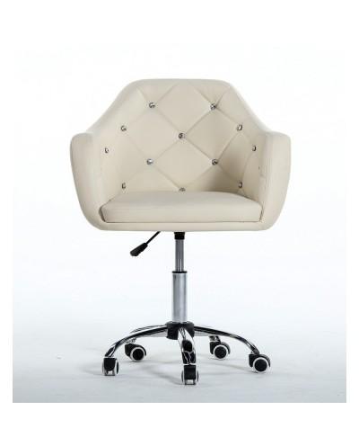 BLINK - Kremowy fotel na kółkach (chrom)