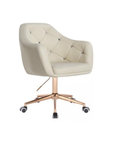 BLINK - Fotel obrotowy kremowy na kółkach (złoty)
