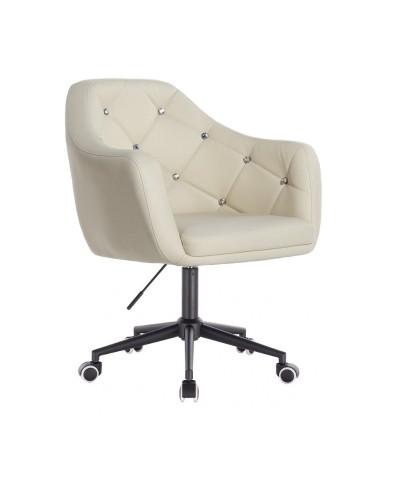 BLINK - Kremowy fotel biurowy na kółkach (czarne)