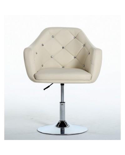 BLINK - Krzesło do salonu kremowe (chromowany dysk)