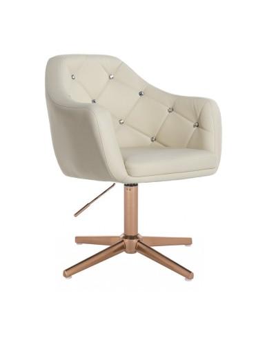 BLINK - Nowoczesny fotel do salonu kremowy (złoty krzyżak)