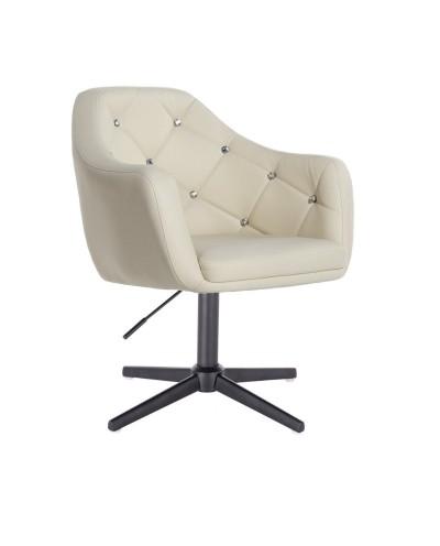 BLINK - Fotel do pokoju dziennego glamour kremowy (krzyżak czarny)