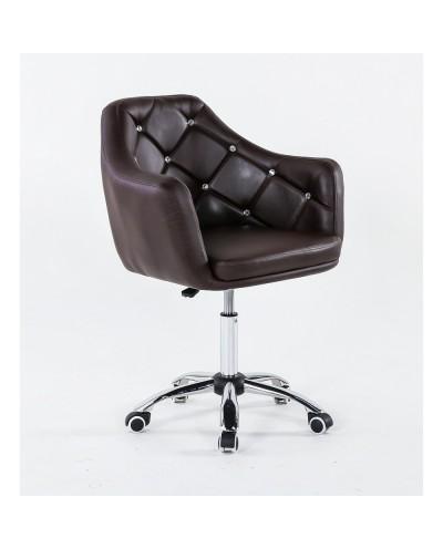 BLINK - Czekoladowy biurowy fotel na kółkach (chrom)