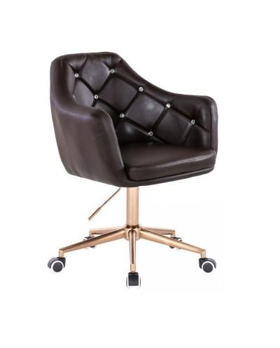 BLINK - Czekoladowy fotel obrotowy na kółkach (złoty)