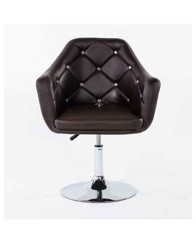 BLINK - Fotel do pokoju dziennego czekoladowy (chromowany dysk)