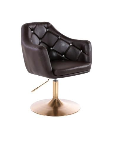 BLINK - Fotel obrotowy do salonu czekoladowy (złoty dysk)