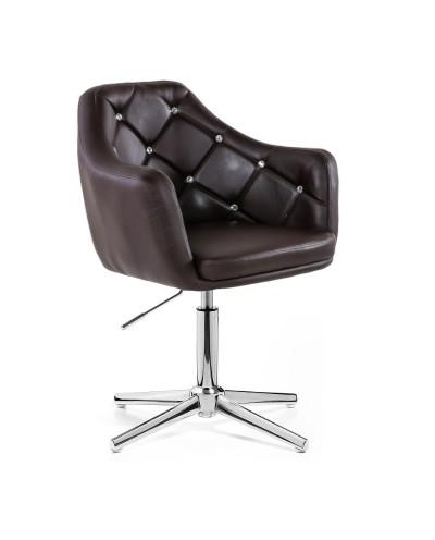 BLINK - Fotel glamour czekoladowy (chromowany krzyżak)