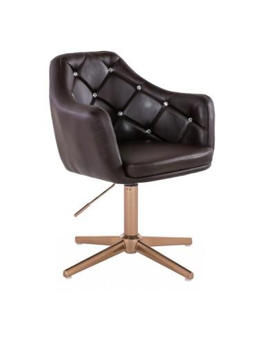 BLINK - Nowoczesny fotel do salonu czekoladowy (złoty krzyżak)