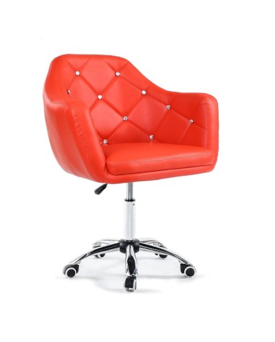 BLINK - Czerwone młodzieżowe krzesło na kółkach (chrom)
