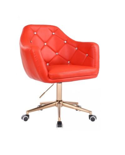 BLINK - Czerwony fotel na kółkach (złoty)