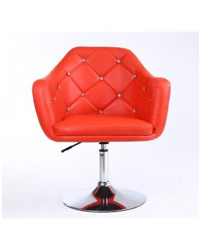 BLINK - Fotel do pokoju dziennego czerwony (chromowany dysk)