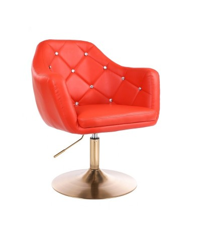 BLINK - Fotel obrotowy do salonu czerwony (złoty dysk)