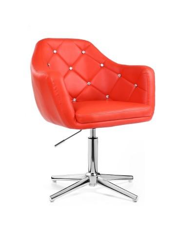 BLINK - Fotel glamour czerwony (chromowany krzyżak)
