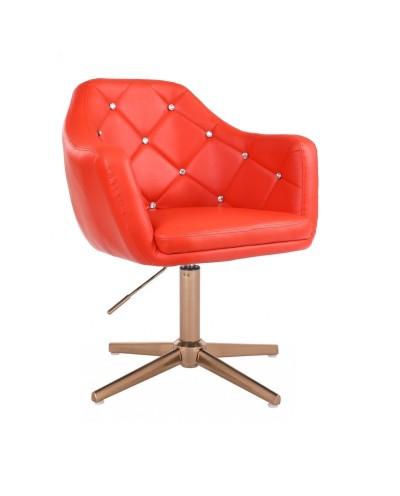 BLINK - Nowoczesny fotel do salonu czerwony (złoty krzyżak)