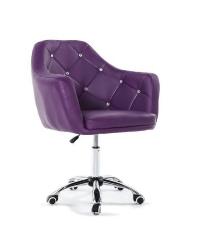 BLINK - Fioletowe młodzieżowe krzesło na kółkach (chrom)