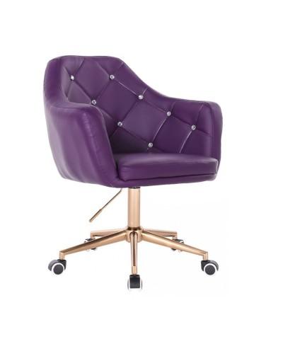 BLINK - Fioletowy fotel na kółkach (złoty)