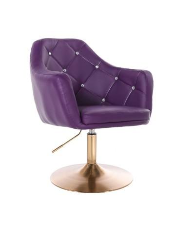 BLINK - Fotel obrotowy do salonu fioletowy (złoty dysk)