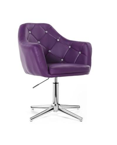 BLINK - Fotel glamour fioletowy (chromowany krzyżak)
