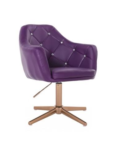 BLINK - Nowoczesny fotel do salonu fioletowy (złoty krzyżak)