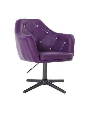 BLINK - Fioletowy fotel do pokoju dziennego (krzyżak czarny)