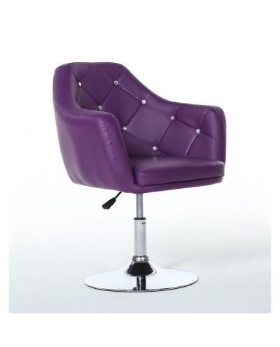 BLINK - Fotel do pokoju dziennego fioletowy (chromowany dysk)