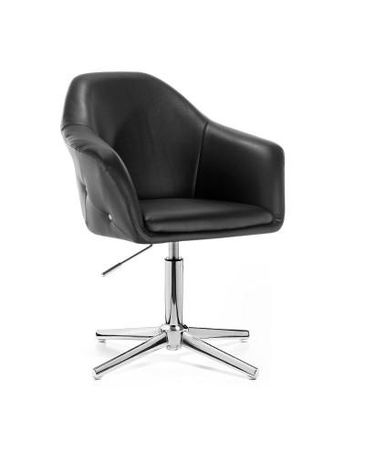 Fotel czarny BLINK ZET glamour salon - krzyżak chromowany