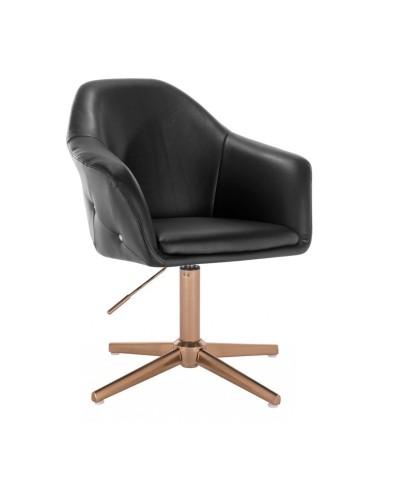 Elegancki czarny fotel BLINK ZET do salonu - złoty krzyżak