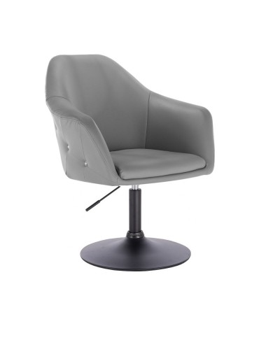 Szary wygodny fotel BLINK ZET obrotowy - dysk czarny