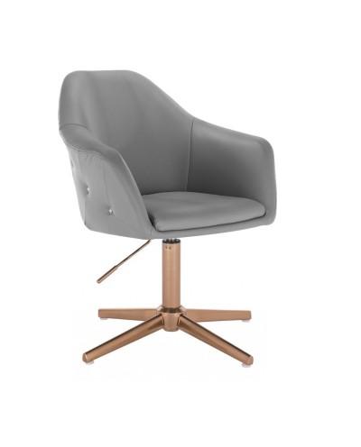 Elegancki szary fotel BLINK ZET do salonu - złoty krzyżak