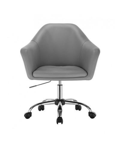 Szary fotel na kółkach BLINK ZET - chromowana podstawa kółka