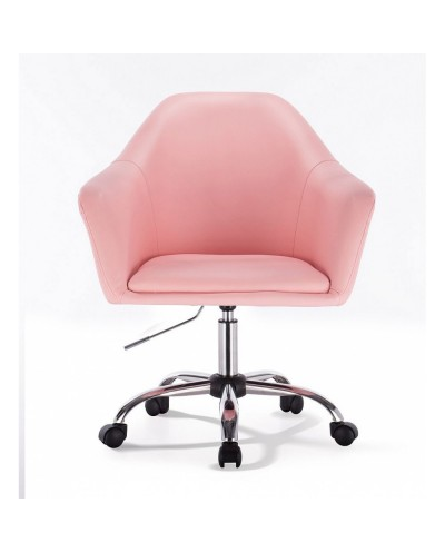 Różowy fotel na kółkach BLINK ZET - chromowana podstawa kółka