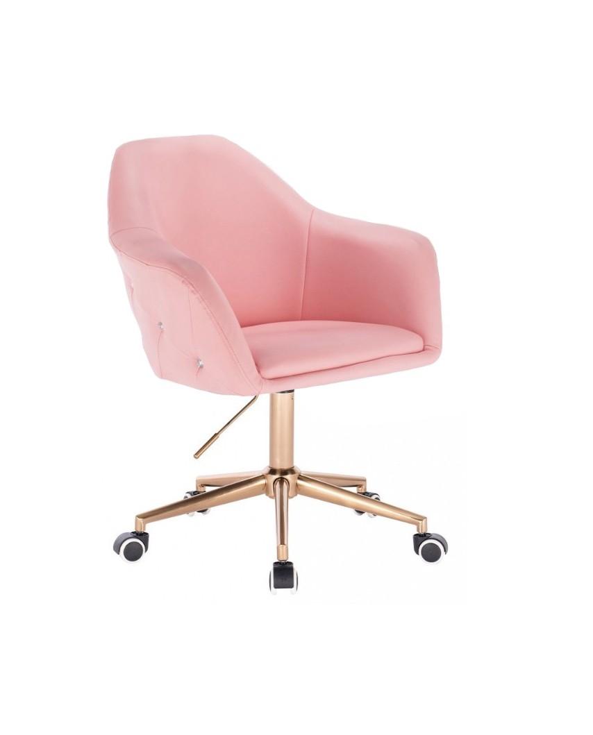 Różowy fotel obrotowy BLINK ZET na kółkach - złoty
